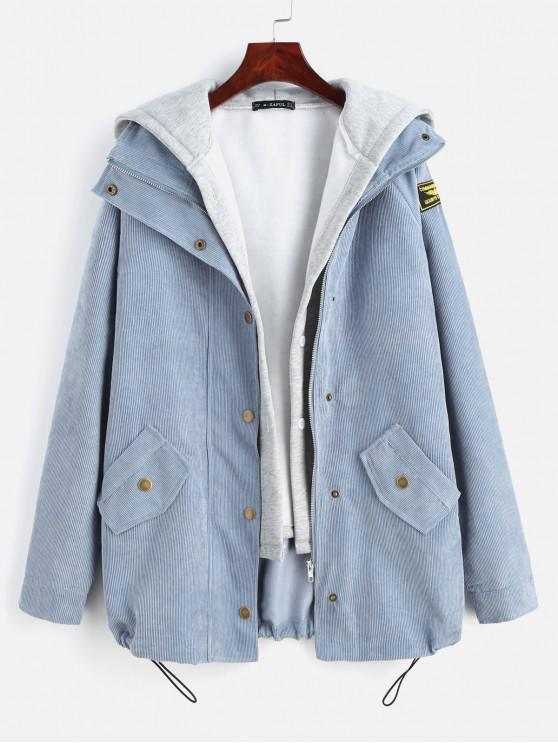 chic ZAFUL Fleece Vest and Corduroy Jacket Twinset - SLATE BLUE L
