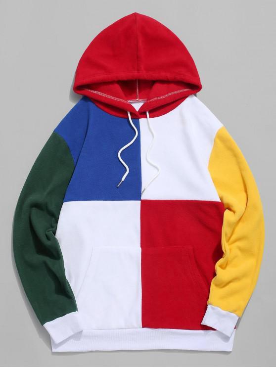 latest Colorblock Splicing Fluffy Fleece Drawstring Hoodie - MULTI-A XL