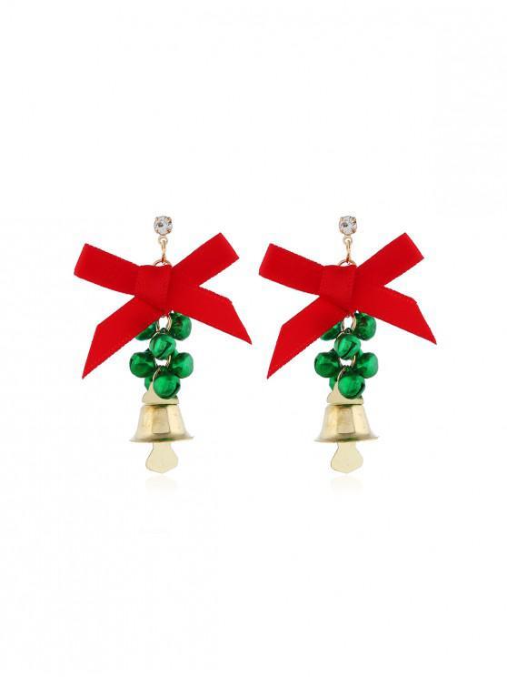 Campanas de Navidad pendientes de gota del Bowknot - Verde