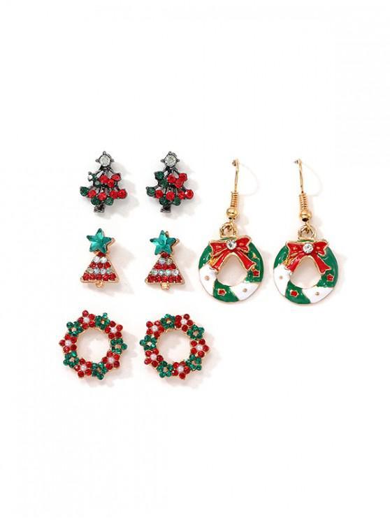 4對聖誕樹花環耳環套裝 - 多