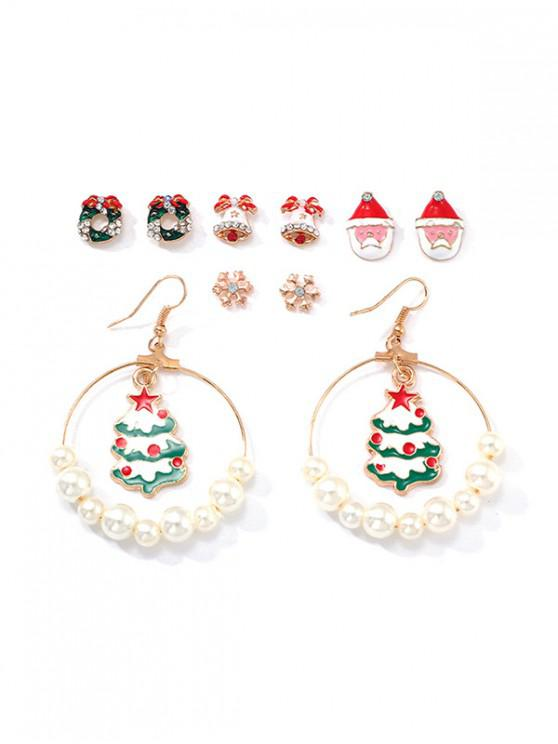 fashion 5 Pairs Christmas Tree Santa Earrings Set - MULTI