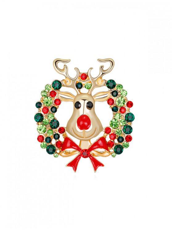 sale Christmas Garland Elk Brooch - GOLD