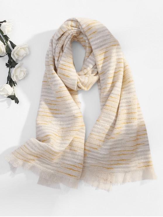 shops Winter Faux Woolen Thick Tassel Scarf - BEIGE
