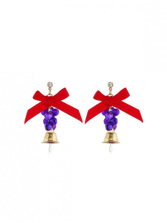 Campanas de Navidad pendientes de gota del Bowknot - Púrpura