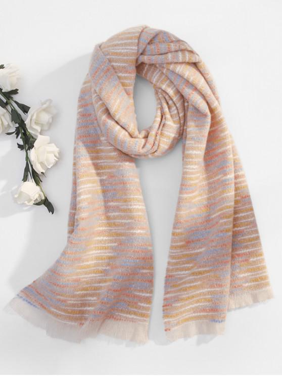 womens Winter Faux Woolen Thick Tassel Scarf - PINK