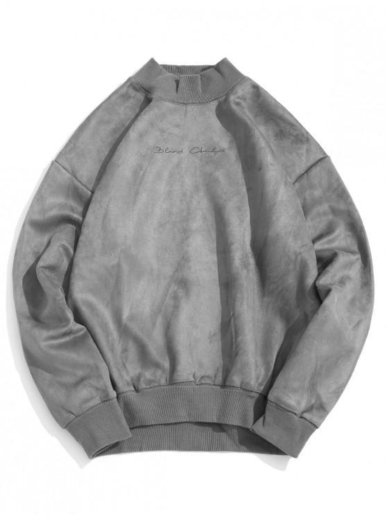sale Solid Letter Print Rib-knit Trim Casual Sweatshirt - BLUE GRAY XL