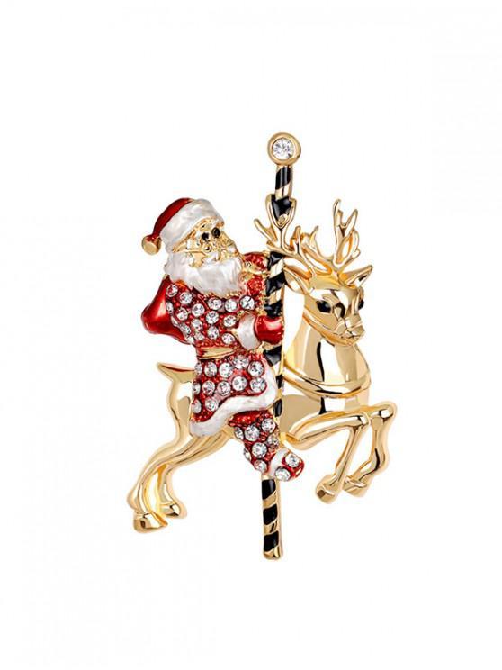 buy Christmas Santa Claus Elk Brooch - GOLD