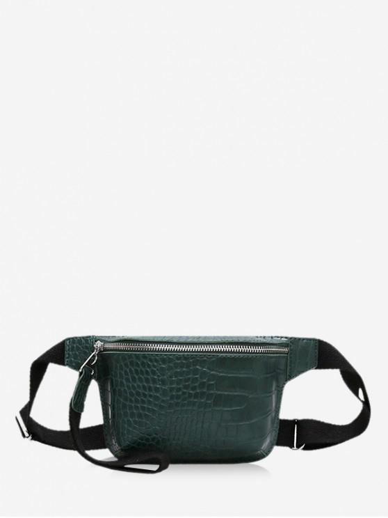 trendy Zipper Crossbody Leather Bag - DEEP GREEN