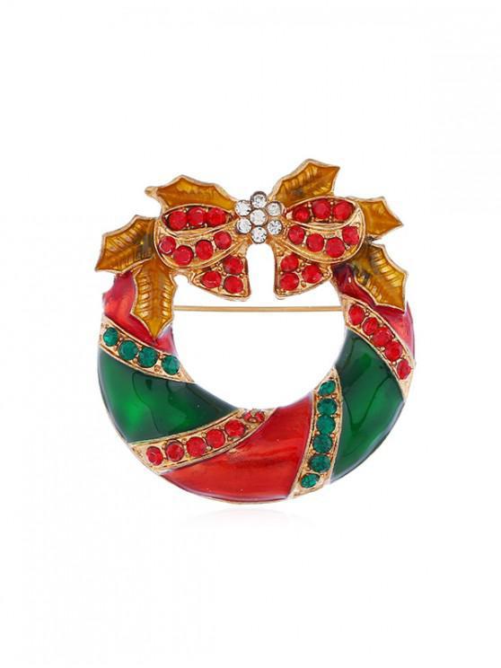 fashion Christmas Bowknot Garland Brooch - GOLD