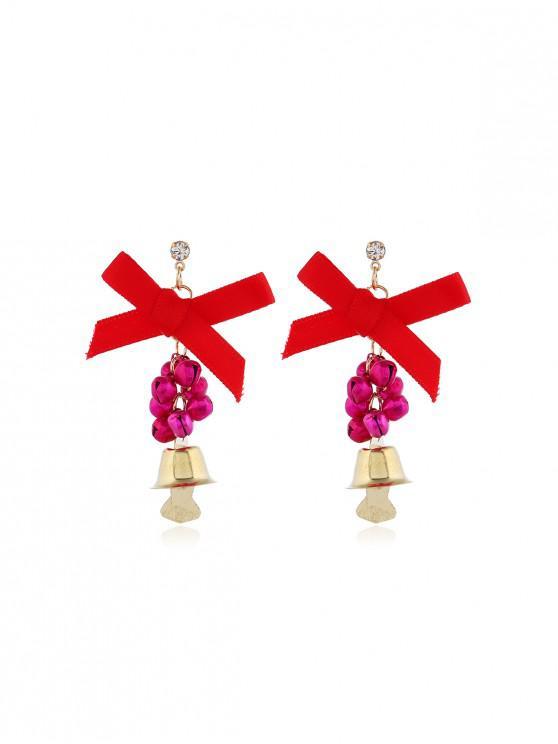buy Christmas Bells Bowknot Drop Earrings - ROSE RED