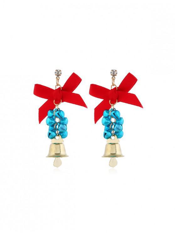 Campanas de Navidad pendientes de gota del Bowknot - Azul