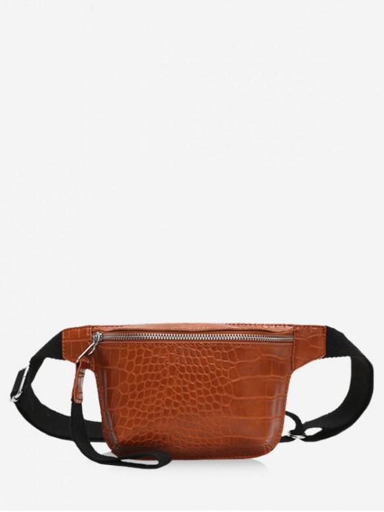 online Zipper Crossbody Leather Bag - LIGHT BROWN