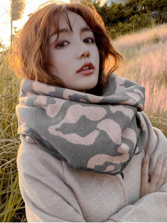 latest Leopard Print Rhombus Knitted Scarf - PINK