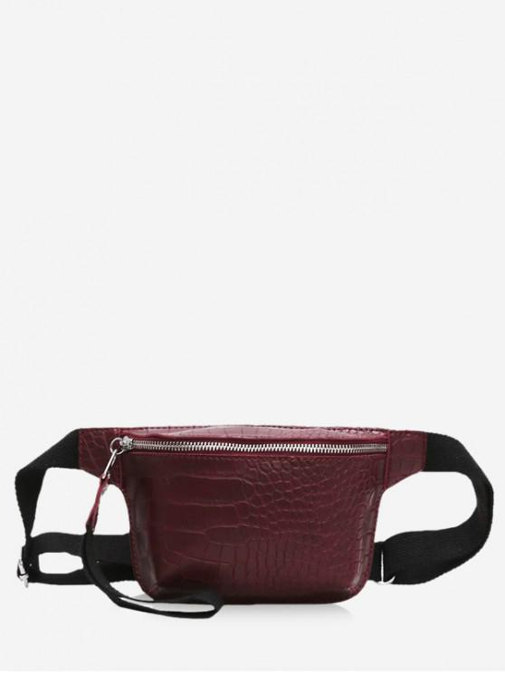 fancy Zipper Crossbody Leather Bag - RED WINE