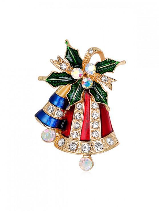online Christmas Bell Rhinestone Brooch - GOLD