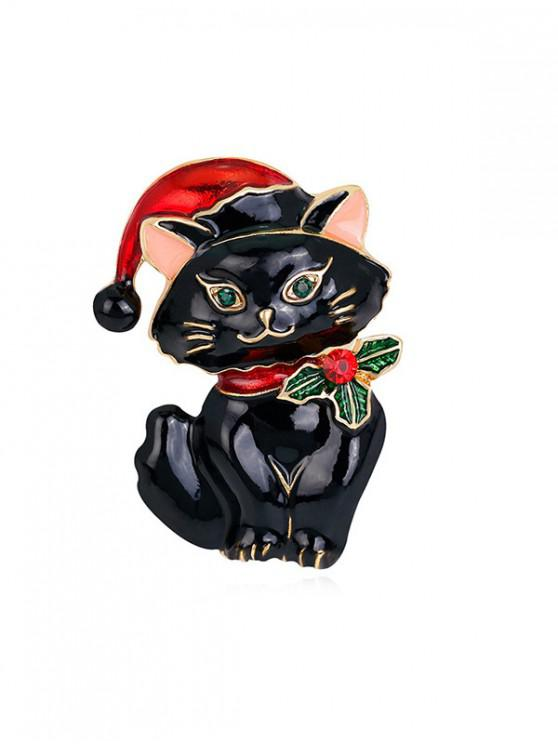 latest Christmas Cat Rhinestone Brooch - BLACK
