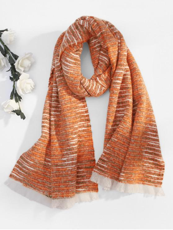 affordable Winter Faux Woolen Thick Tassel Scarf - TANGERINE