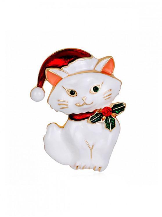 คริสมาสต์แมว Rhinestone เข็มกลัด - ขาว