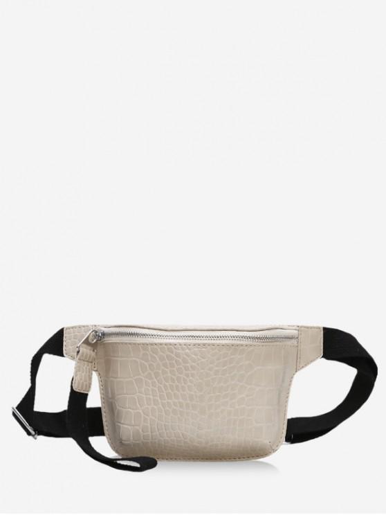 กระเป๋าหนังซิป Crossbody - ผ้าขนสัตว์สีธรรมชาติ