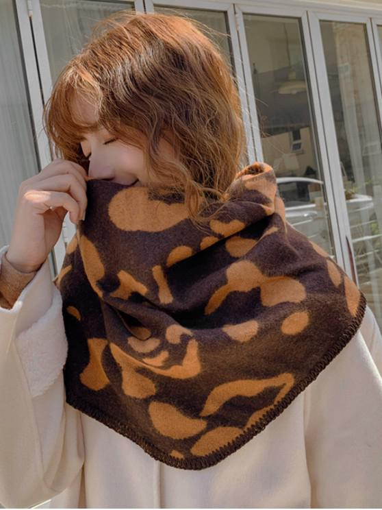 outfits Leopard Print Rhombus Knitted Scarf - COFFEE