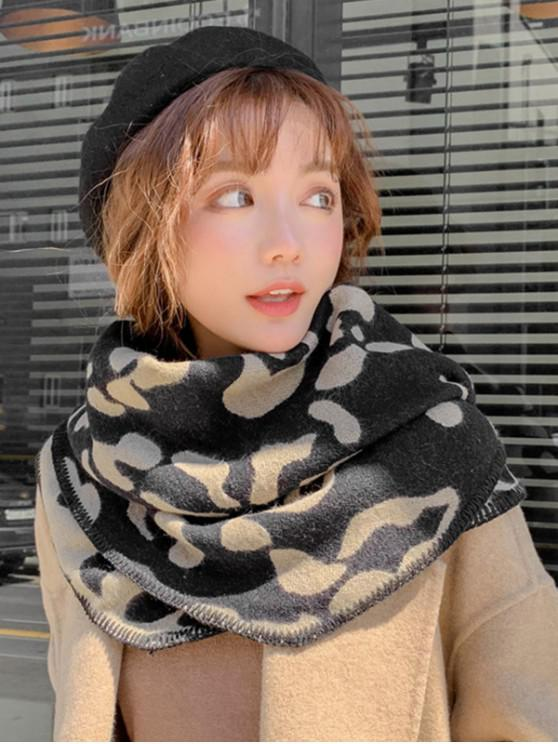 latest Leopard Print Rhombus Knitted Scarf - BLACK