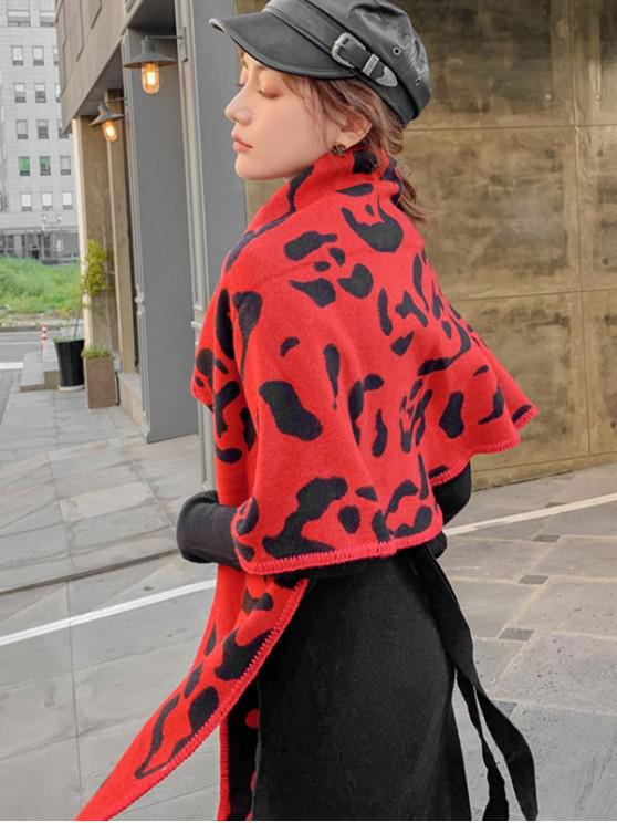 sale Leopard Print Rhombus Knitted Scarf - RED