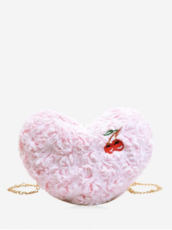 women's Chain Heart Shape Cherry Pattern Shoulder Bag - PINK
