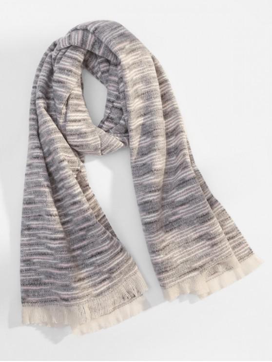 shop Winter Faux Woolen Thick Tassel Scarf - GRAY