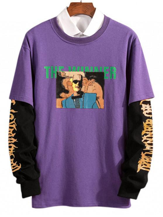 hot 2 in 1 Printed Long Sleeve T-Shirt - PURPLE XS