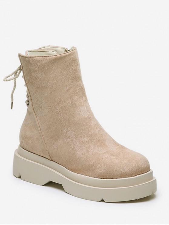 online Plain Lace Up Back Suede Platform Boots - BEIGE EU 38