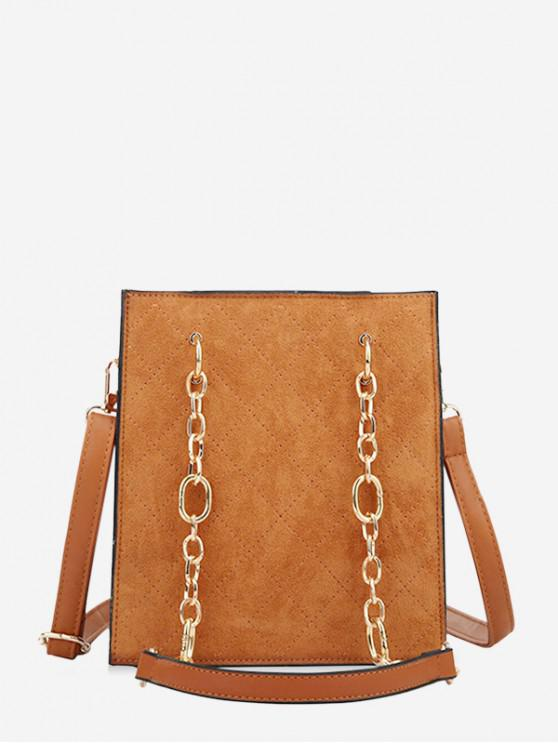 best Rhombic Pattern Chain Shoulder Bag - BROWN