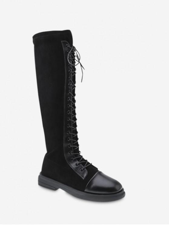 PU-Leder-Panel  Kniehohe Stiefel mit Schnürung - Schwarz EU 37