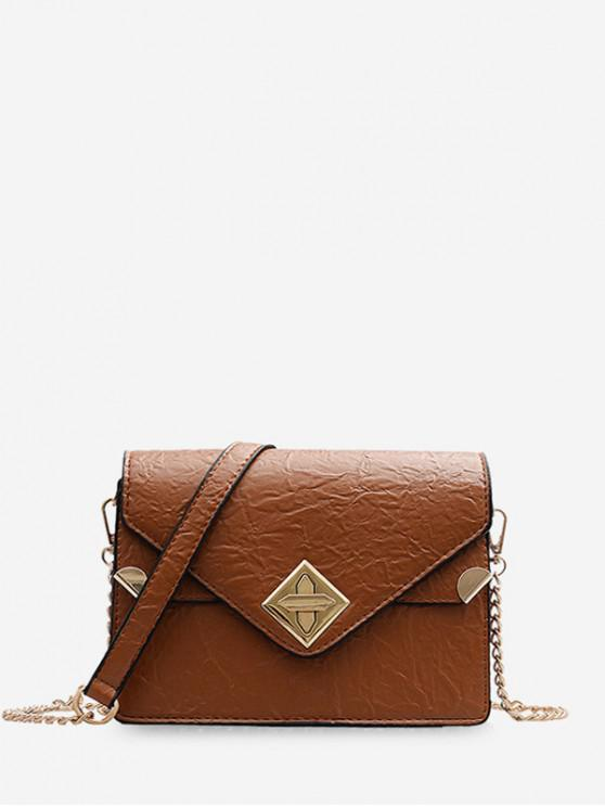 latest Small Hasp Square Shoulder Bag - BROWN