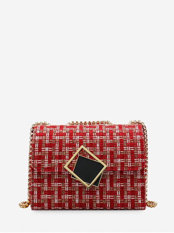 affordable Plaid Square Small Buckle Shoulder Bag - RED