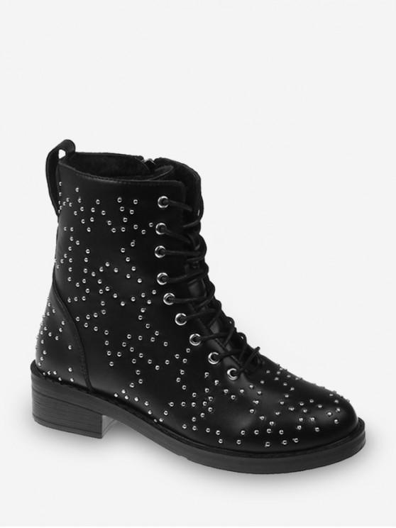 trendy Star Studded Lace Up Ankle Boots - BLACK EU 41