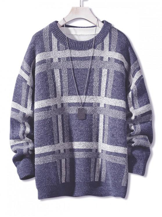 womens Plaid Pattern Long Pullover Sweater - BLUE L