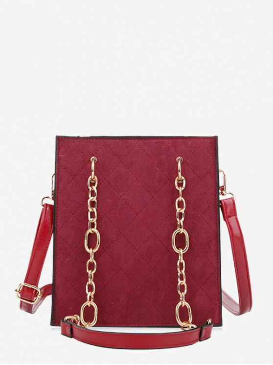 online Rhombic Pattern Chain Shoulder Bag - RED WINE
