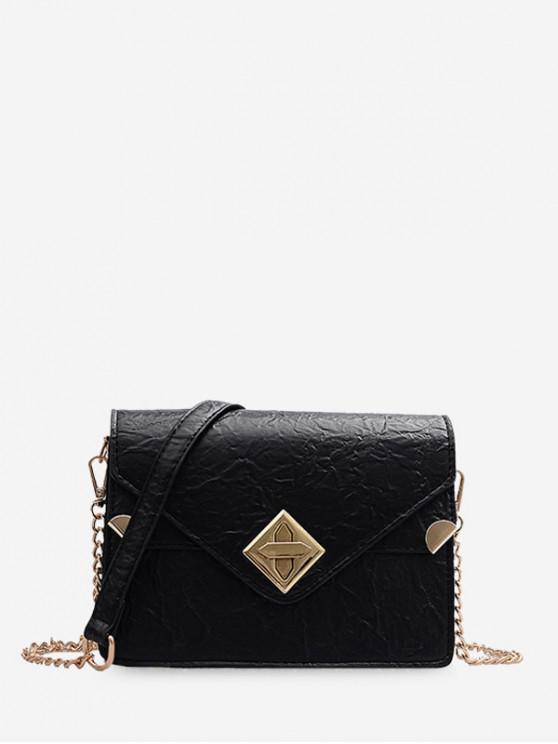 sale Small Hasp Square Shoulder Bag - BLACK