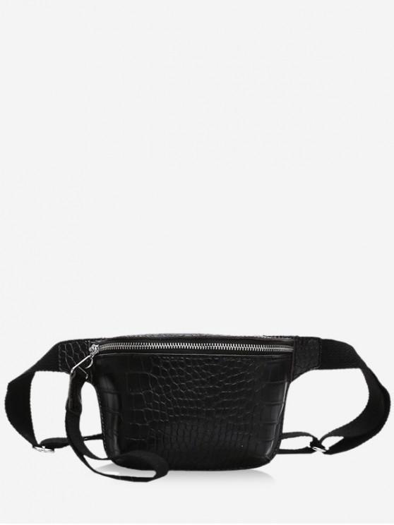 Bolsa de cuero con cremallera Crossbody - Negro
