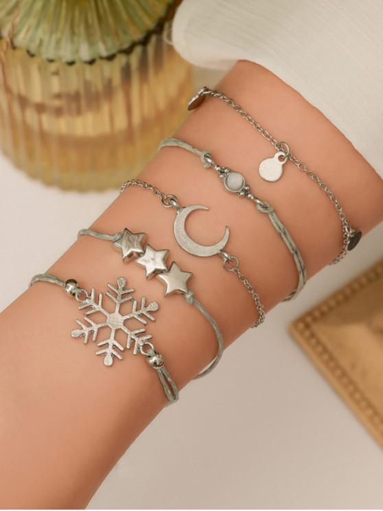 trendy 5Pcs Christmas Snow Moon Star Bracelet Set - SILVER