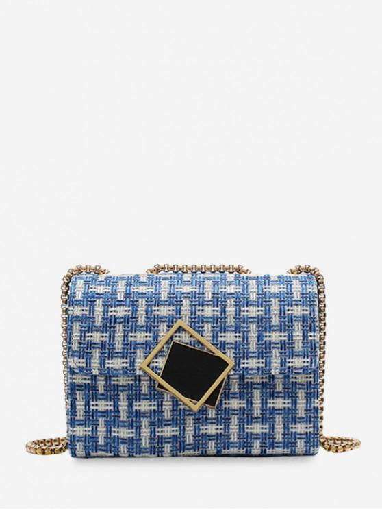lady Plaid Square Small Buckle Shoulder Bag - SILK BLUE