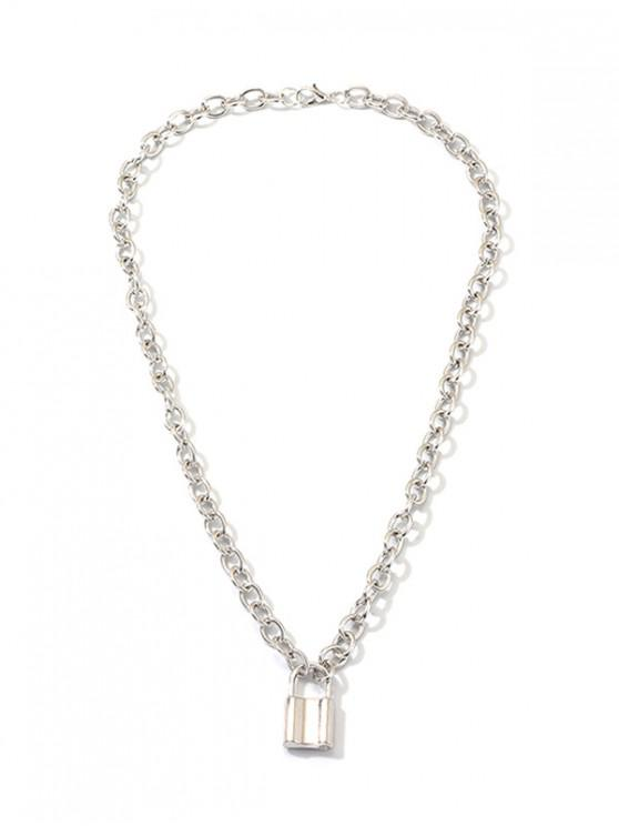 outfit Lock Pendant Link Chain Necklace - SILVER