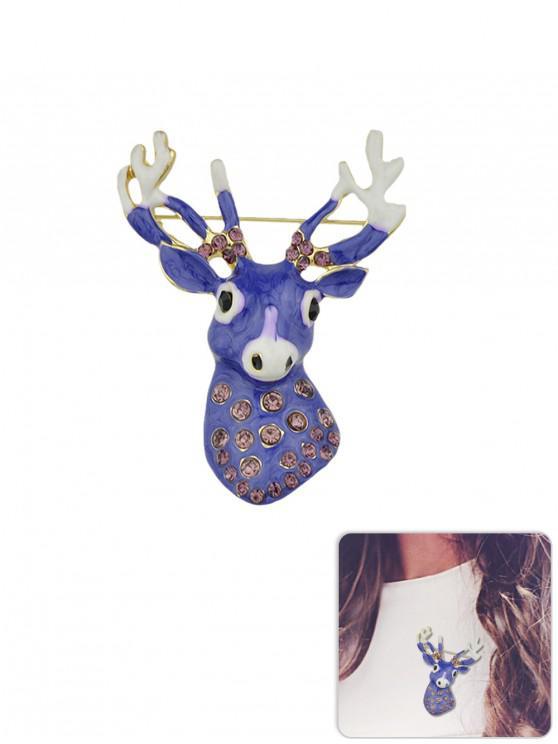 fancy Elk Rhinestone Glazed Brooch - PURPLE
