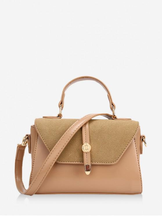 affordable Small Cover Leather Shoulder Bag - KHAKI