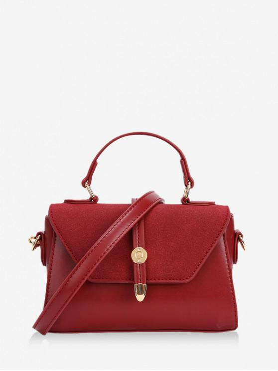 buy Small Cover Leather Shoulder Bag - RED