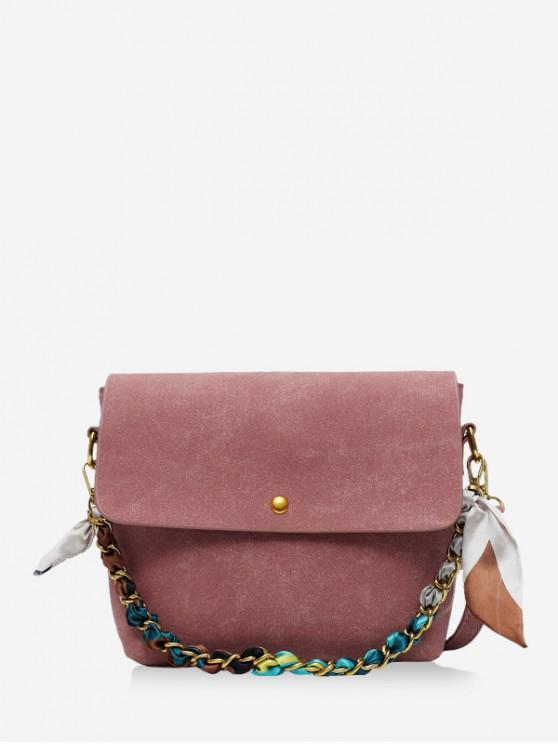 womens Solid Ribbon Decorated Shoulder Bag - PINK