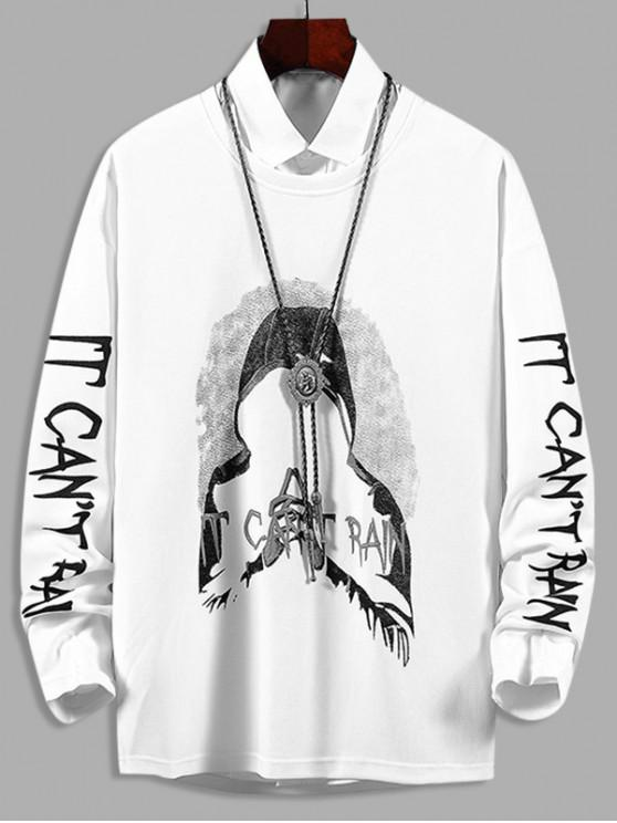 lady Hooded Character Letter Graphic Print Casual Sweatshirt - WHITE XS