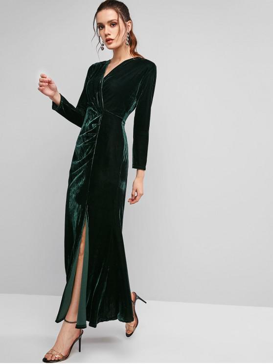 trendy Long Sleeve Velvet Draped Slit Maxi Dress - DARK GREEN S