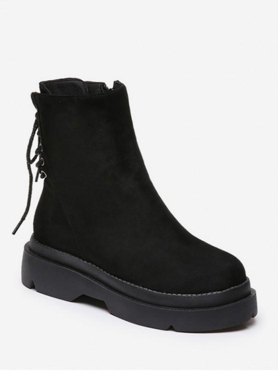 sale Plain Lace Up Back Suede Platform Boots - BLACK EU 35