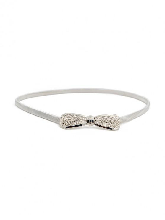 shops Metallic Bowknot Elastic Hollowed Belt - SILVER